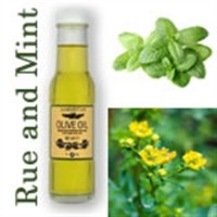Olive Oil with Rue Oil and Peppermint Oil.
